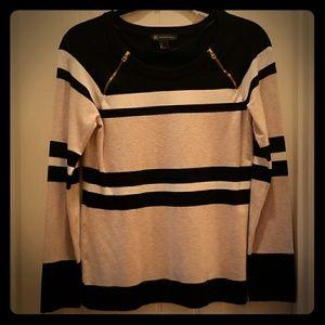 INC Striped Gold Zipper Sweater